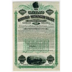 Cleveland Wooster & Muskingum Valley Railroad Co. 1891. Specimen Bond.