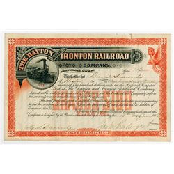 Dayton & Ironton Railroad Co. 1881. I/U Stock Certificate.