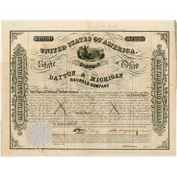 Dayton & Michigan Railroad (Rail Road) Co. 1853. I/C Bond.