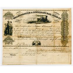 Hillsborough & Cincinnati Rail Road Co. 1853. I/U Stock Certificate.