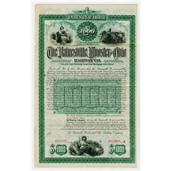 Painesville Wooster & Ohio Railway Co Zanesville Division. 1887. Specimen Bond.