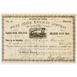 Swan Creek Railway Co. of Toledo Ohio, 1875 I/U Stock Certificate