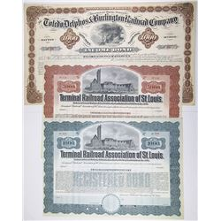 Midwest Railroad Bond Trio, 1880-1930