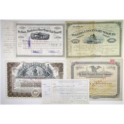 Mid West Issued Stock Certificates, 1882-1919 Group of 5 Certificates.