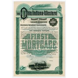 Ohio Indiana & Western Railway Co. 1888. Specimen Bond.