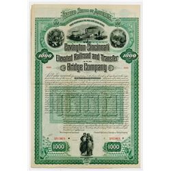 Covington & Cincinnati Elevated Railroad & Transfer & Bridge Co. 1887. Specimen Bond.