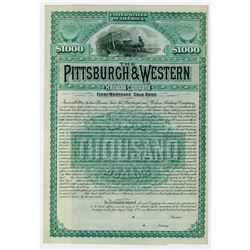 Pittsburgh & Western Railway Co. 1887. Specimen Bond.