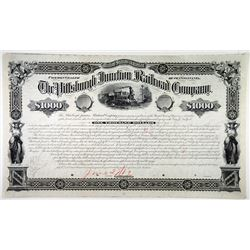 Pittsburgh Junction Railroad Co., 1882 Unique Approval Proof Bond