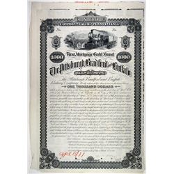Pittsburgh, Bradford and buffalo Railway Co., 1881 Unique Approval Proof Bond