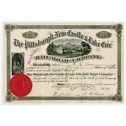 Pittsburgh, New Castle & Lake Erie Rail Road Co., 1878 I/U Stock Certificate