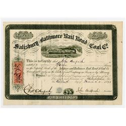 Salisbury and Baltimore Rail Road and Coal Co., 1841 I/U Stock Certificate