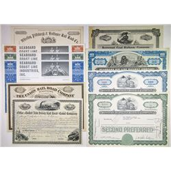 North East Railroad Stock Certificates 1880-1972 Assortment