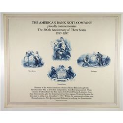 "ABN Souvenir Cards, ""ABN Commemorates the 200th Anniversary of Three States 1787-1987"", Lot of 100"