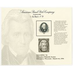 "Andrew Jackson Intaglio Vignette Portrait used on ""Black Jack"" 1863 Issued U.S. 2 Cent Stamps, 1994"
