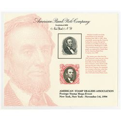 ASDA 1994 Mega-Event Abraham Lincoln Reprint Intaglio Vignette Portrait used on 1869 90 cents Pictor