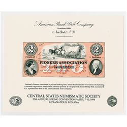 Indiana, Pioneer Association, $2 1856, Obsolete Banknote Intaglio Reprints, ABNC Souvenir Cards, Lot