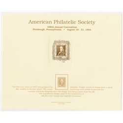 Philatelic Souvenir Card, 108th Annual APS Convention, 1994 with Benjamin Franklin Intaglio Vignette