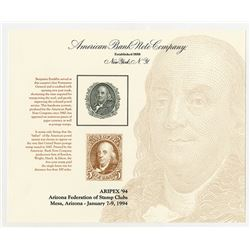 Philatelic Souvenir Card, ARIPEX '94 with Benjamin Franklin Intaglio Vignette Used on 1847 U.S. 5 Ce