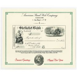 Shetucket Bank of Connecticut, 1860's Bank Draft With 2 Santa Claus Vignettes, 1993 ABN Reprint Lot