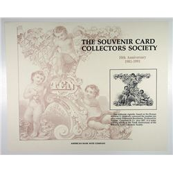 Souvenir Cards Collectors Society - 10th Anniversary, Elaborate 1857 TC&C Vignette of Roman Numeral