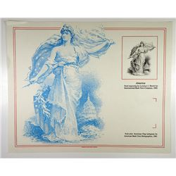 "Souvenir Cards, Intaglio Steel 1892 Engraving by Lorenzo Hatch ""America"" 1991 Reprint without Hologr"