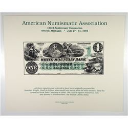 White Mountain Bank of New Hampshire $1 Obsolete Intaglio 1994 Reprints of 1858 Obsolete Banknotes,