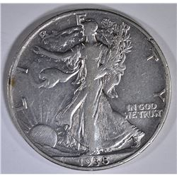 1938-D WALKING LIBERTY HALF DOLLAR, VF/XF