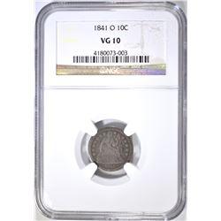 1841-O SEATED DIME, NGC VG-10