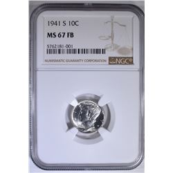 1941-S MERCURY DIME, NGC MS-67 FB