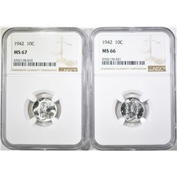 2-1942 MERCURY DIMES: 1-NGC MS-66 & 1-67