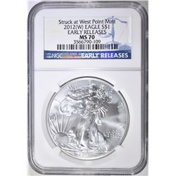 2012 (W) SILVER EAGLE, NGC MS-70 EARLY RELEASES
