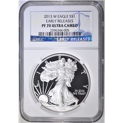 2013-W SILVER EAGLE, NGC PF-70 ULTRA CAMEO