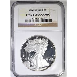 1986-S AMERICAN SILVER EAGLE NGC PF-69 ULTRA CAMEO