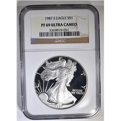 1987-S AMERICAN SILVER EAGLE NGC PF-69 ULTRA CAMEO
