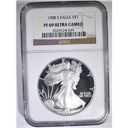 1988-S AMERICAN SILVER EAGLE NGC PF-69 ULTRA CAMEO