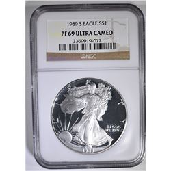1989-S AMERICAN SILVER EAGLE NGC PF-69 ULTRA CAMEO