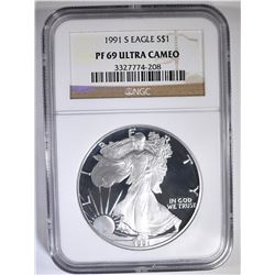 1991-S AMERICAN SILVER EAGLE NGC PF-69 ULTRA CAMEO