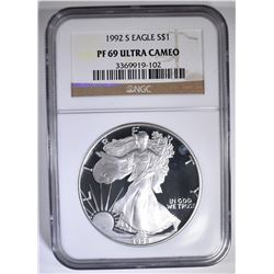 1992-S AMERICAN SILVER EAGLE NGC PF-69 ULTRA CAMEO
