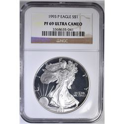 1993-P AMERICAN SILVER EAGLE NGC PF-69 ULTRA CAMEO