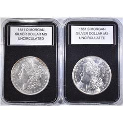 1881-S & 1881-O UNC MORGAN DOLLARS