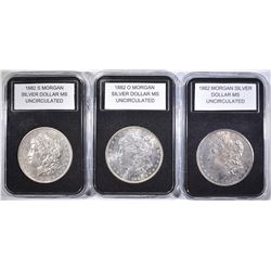 1882-P,O & S MORGAN DOLLARS  UNC