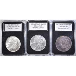 1887, 1888& 188-O UNC MORGAN DOLLARS