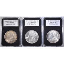 1896, 1897 & 1898 UNC MORGAN DOLLARS