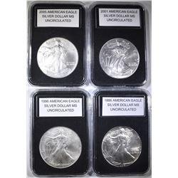 1986, 1996, 2001 & 2005 UNC AMERICAN SILVER EAGLES