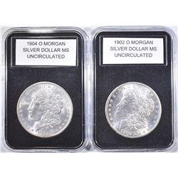 1902-O & 1904-O UNC MORGAN DOLLARS