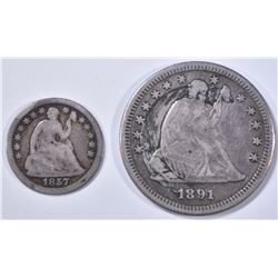 1857 SEATED HALF DIME G & 1891-S SEATED QUARTER XF