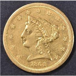 1861-S $2.5 GOLD LIBERTY  AU