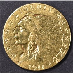 1911-D $2.5 GOLD INDIAN HEAD  BU