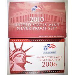 2006 & 2010 U.S. SILVER PROOF SETS ORIG PACKAGING