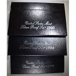 1993, 94, 98 U.S. SILVER PROOF SETS ORIG PACKAGING